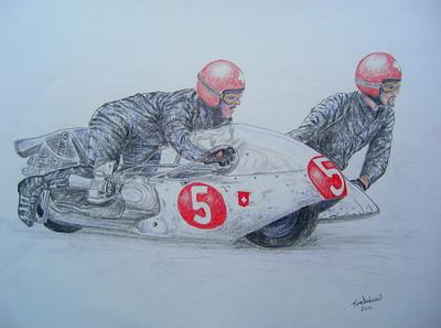 Hans-Peter Hubacker & Kurt Huber, 1969. 4x17, graphite & color pencil, mar 3, 2015. $175US