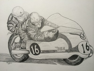Chris Vincent & John Robinson, BSA 650, at Brands Hatch, circa 1964 - 14x17, graphite pencil, nov 13, 2014. $100US