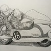 Chris Vincent & John Robinson, BSA 650, at Brands Hatch, circa 1964 - 14x17, graphite pencil, nov 13, 2014. $100US