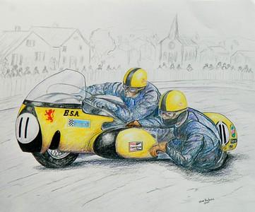 Mac Hobson & Geoff Atkinson, BSA 750, 1970 Isle of Man TT.14x17, graphite & color pencil, sep 14, 2015.  $200US