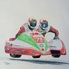Keith Walters & Alun Thomas Chimay,TT, Isle of Man, 2010. 11x14, color pencil, jan 13, 2015. $200US