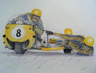 Erik and Hampus von Post, 1972. 14x17, graphite & color pencil, april  21, 2015. $200US
