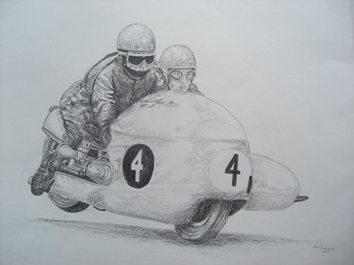 Fritz Scheidegger and John Robinson, BMW RS54, world champions 1965 & 66, 14x17 graphite pencil, nov 15, 2014. $100US