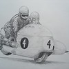 Fritz Scheidegger and John Robinson, BMW RS54, world champions 1965 & 66, 14x17 graphite pencil, nov 15, 2014. $100US