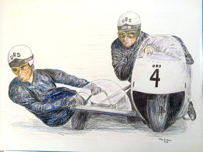 Helmut Fath and Wolfgang Kalauch, URS 4 cylinder, mid 1960s. 14x17, color pencil, feb 1, 2015. $175US