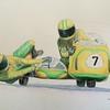 Uschi Fleischer Schick & Karl-Heinz Fleischer - Hockenheimring - the fatal race, August 10 1975, 14x17, color pencil, jan 20, 2015. $$175US