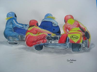 Fast Girls . 14x17, watercolor,  dec 23, 2014. $200US