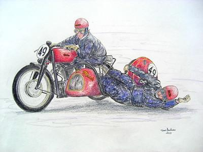 Ernesto Merlo & Dino Magri, Gilera 500, Swiss GP, 27 may 1951. 14x17, color pencil, march 17, 2015. $175US.