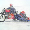 Ernesto Merlo & Dino Magri, Gilera 500, Swiss GP, 27 may 1951. 14x17, color pencil, march 17, 2015. $175US.