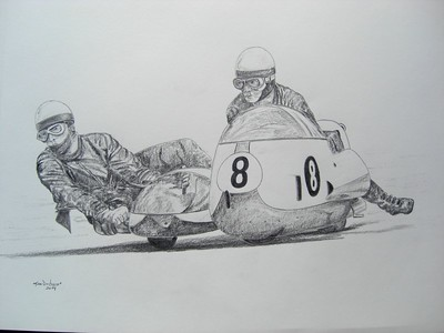 Klaus Enders and Ralf Engelhardt, Isle of Man 1967. 14x17, graphite pencil, nov 19, 2014. $100US