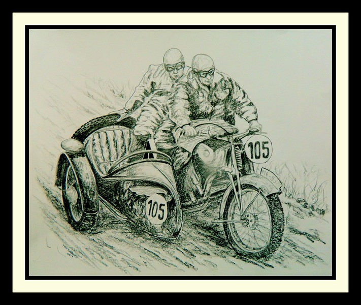 1938-ISDT, Wales at Ffrydd Croesty. H. Dunz, driver, NSU works team, 593cc NSU. , 14x17, graphite pencil, may 22, 2017. $125US