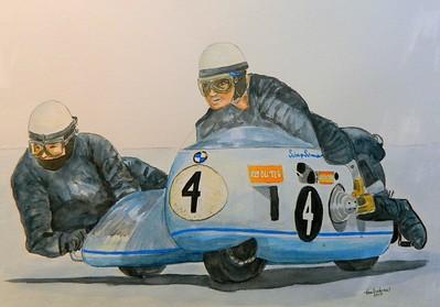 Siegfried Schauzu and Horst Schneider, BMW, Isle of Man, 1970. 14x17, watercolor, sep 16, 2015. $200US