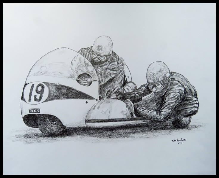 1-Terry Vinnicombe & John Flaxman, 1965 IoM TT on BSA, 14x17, graphite pencil, may 15, 2017 IMG_79372
