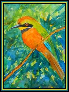1-Cinnamon-chested Bee-eater, Uganda,  6x8, watercolor, may 2, 2018.