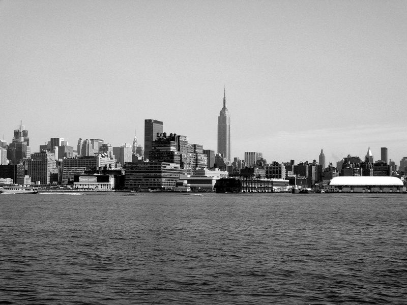 Empire State Building<br /> View From New Jersey<br /> Black & White version