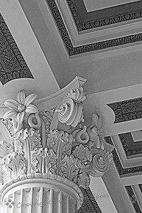 Villa Column in Black & White ~ I decided to try the wonderful details in this column and ceiling decoration in black and white.  The column was at the Getty Villa Museum in Malibu, California.  Although I liked the colors in the original, the details show up quite differently once the color is gone.