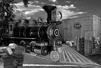 Narrow Gauge Steam Engine ~ This is a composite image from details at the local railroad museum.  I used various filters on it, and changed it to B&W, with an infrared look.