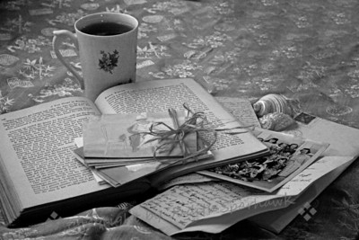 "Memories in Black & White ~ This still life was set up and photographed to illustrate a poem I wrote for my most recent book, ""The Captured Heart"".  It was shown in color in the book, but I wantd to try it also in black and white."
