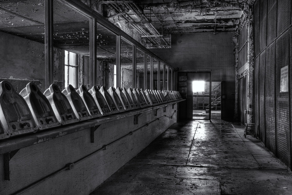 """The East Showers and Commissary """"Toilet Room"""".<br /> Mansfield Reformatory<br /> EOS 5D Mark II 4937_8_9_HDR.jpg"""