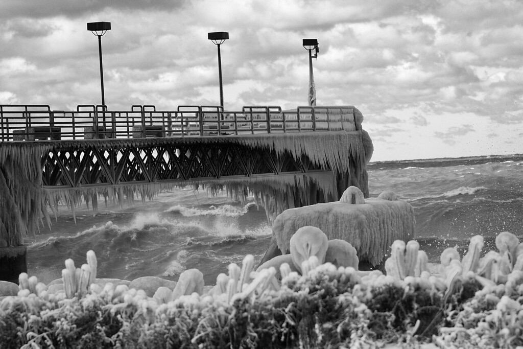 It was a cold and breezy day at Edgewater Park this afternoon.