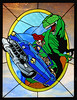 Cadillacs and Dinosaurs (an original stained glass panel design).