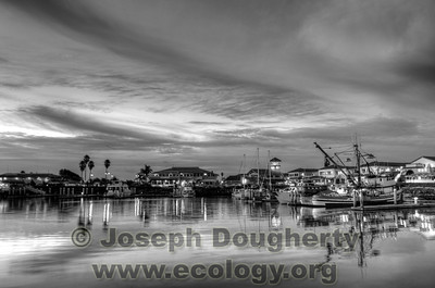 Fishing boats and marina lights reflected in the calm waters of Ventura Harbor.  © Joseph W. Dougherty, MD. All rights reserved.