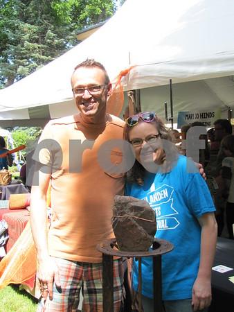 Artist Doug Abbott with Blanden Art Fest Committee member Meg Beshey.