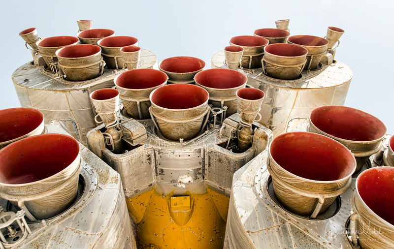 "A unique perspective on the Soyuz main engine exhaust system.  Taken in Baikonur, Kazakhstan (the main Russian launch facility).  More on Soyuz from Wikipedia: Soyuz (Russian: Союз, meaning ""union"", GRAU index 11A511) is a family of expendable launch systems developed by OKB-1, and manufactured by Progress State Research and Production Rocket Space Center in Samara, Russia. The Soyuz launch vehicle is the most frequently used launch vehicle in the world."
