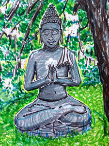 "John Aaron Buddha and the Plum Tree-sketch Mixed media on paper 9.25"" x 13"" Collection: Tony Mafrica,  Clayzen Studios, Meiner Oaks, CA"
