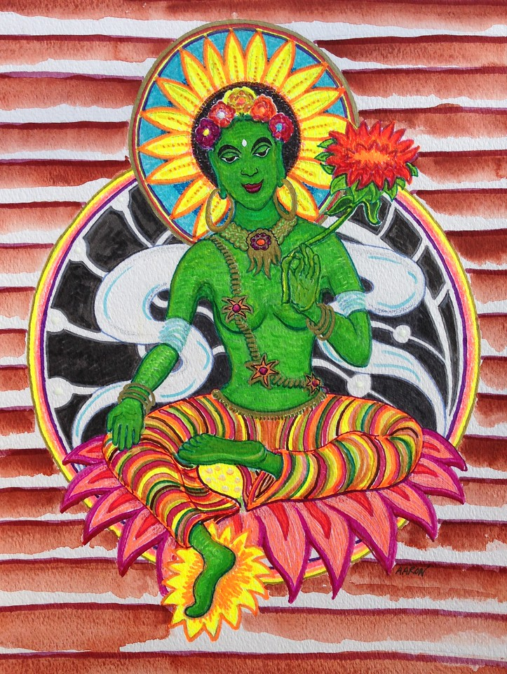 "Green Tara Study for mural Mixed media  12"" x 9"""