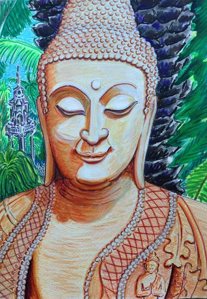 "John Aaron Buddha Smile Mixed media on paper 13"" x 9.25"""