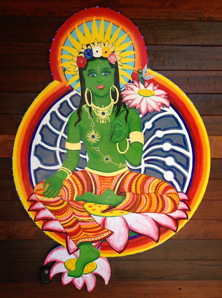 """Green Tara 48"""" x 36"""" Mixed media Commissioned work Private collection, Smartsville. CA"""