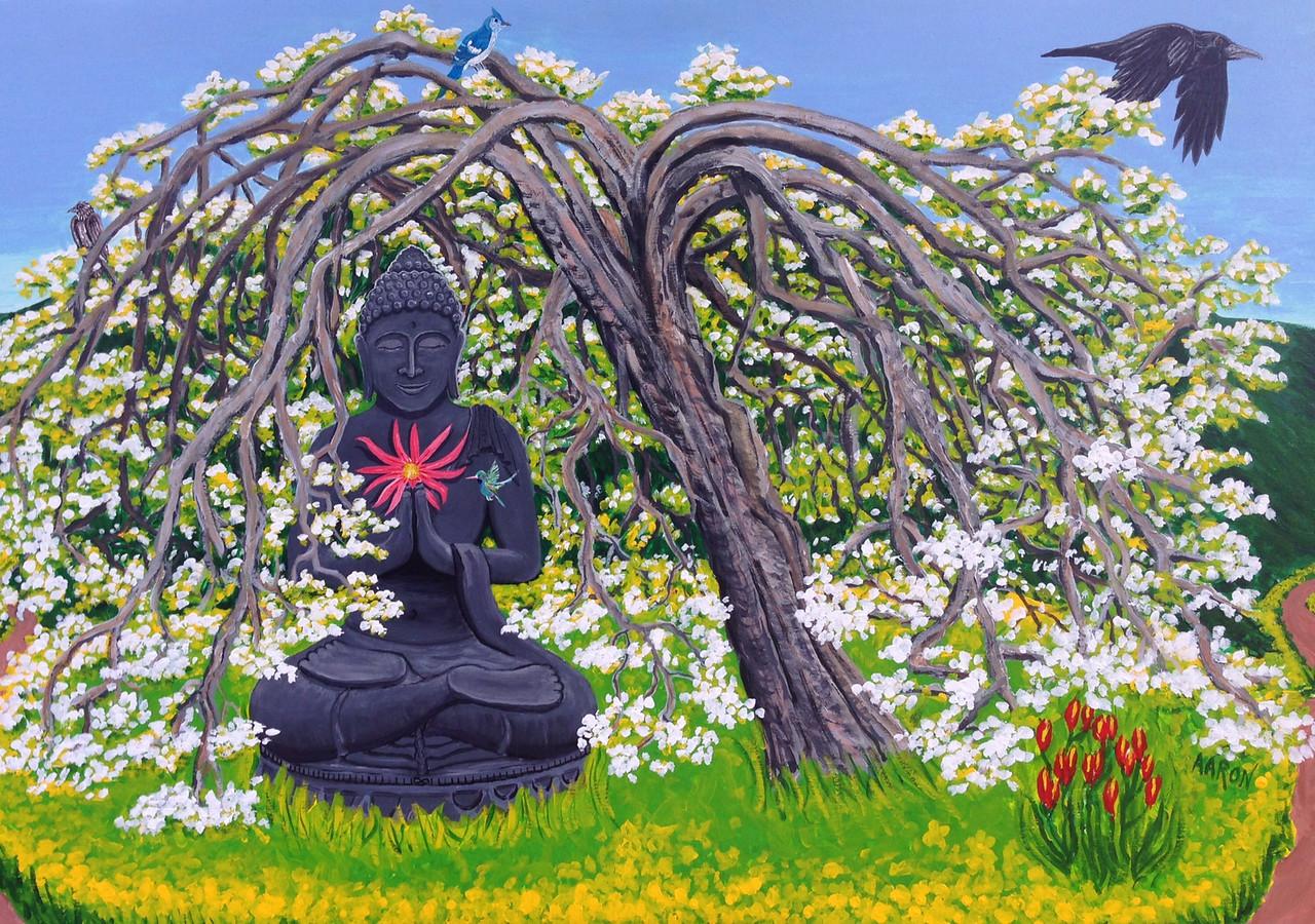 "John Aaron Buddha and the Plum Tree Acrylic on wood 42"" x 60"" Collection: Tony Mafrica,  Clayzen Studios, Meiner Oaks, CA"