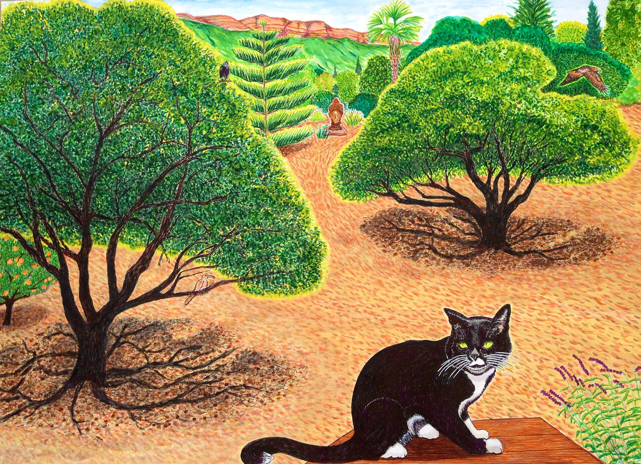 """Felix and the Pink Moment Watercolor, mixed 36"""" x 50"""" Commissioned by Betsy Watson, Ojai, CA"""