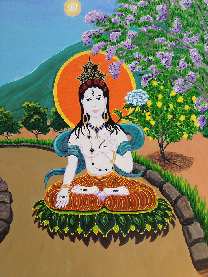 "White Tara on the Path to Enlightenment...detail Commissioned mural  mixed media 48"" x 72"" Private collection, Ojai, California"