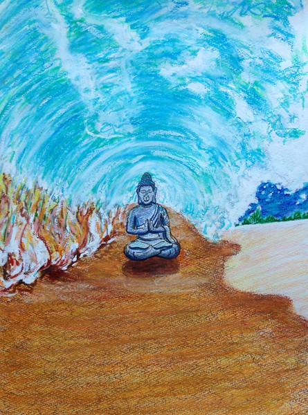 "John Aaron Buddha in the Curl... Mixed media on paper 13"" x 9.25"""