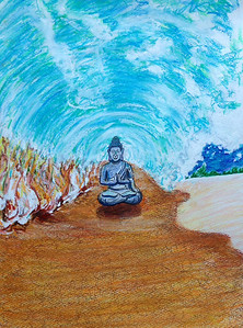 "John Aaron Buddha in the Curl... Mixed media on paper 13"" x 9.25"""