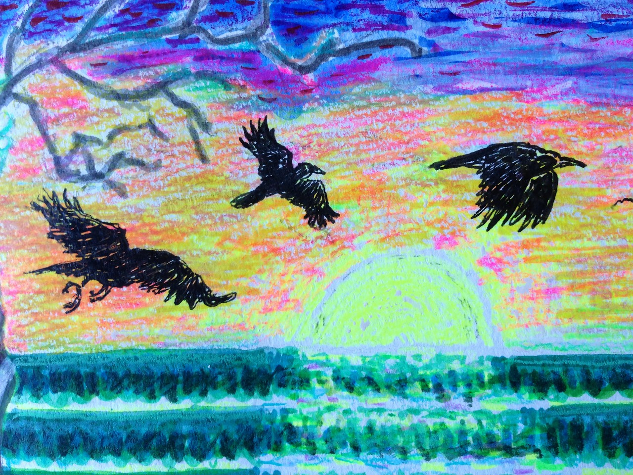 Ravens on the move... detail mixed media