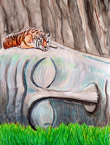 "John Aaron Sleeping Tiger Mixed media on paper 13"" x 9.25"""