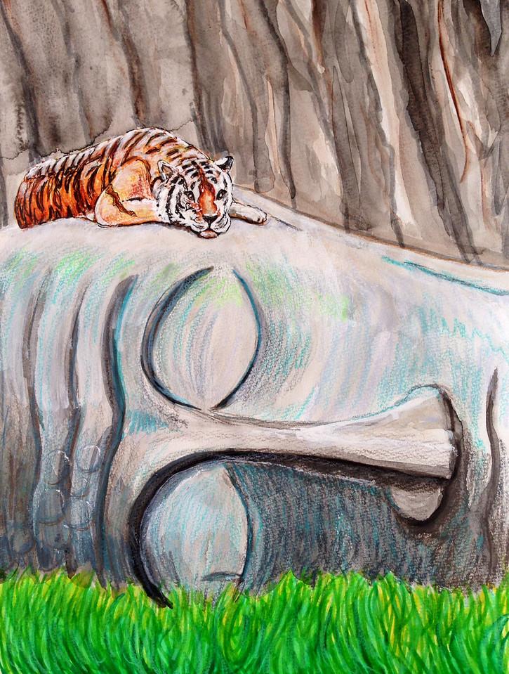 """John Aaron Sleeping Tiger Mixed media on paper 13"""" x 9.25"""""""