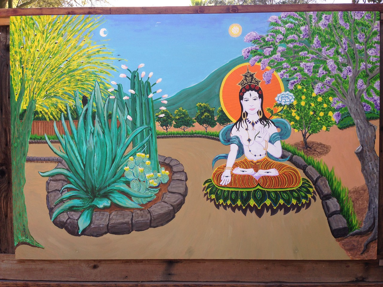 "White Tara on the Path to Enlightenment... Commissioned mural  mixed media 48"" x 72"" Private collection, Ojai, California"