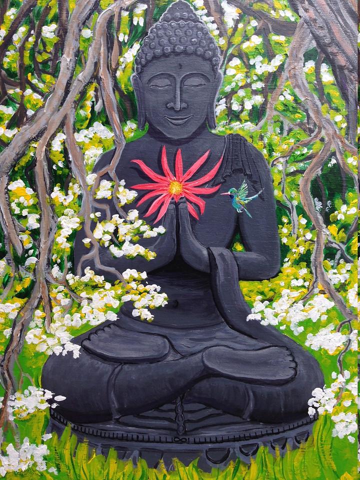 "John Aaron Buddha and the Plum Tree-Detail Acrylic on wood 42"" x 60"" Collection: Tony Mafrica,  Clayzen Studios, Meiner Oaks, CA"