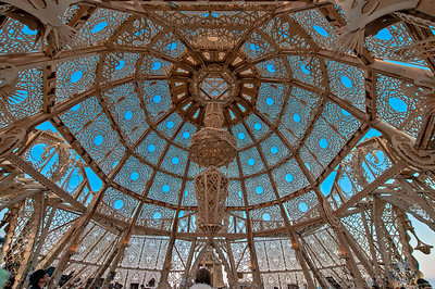 The temple dome, an intricate and sacred creation.