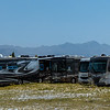 17021 Motor homes staged by the rental company between Gerlach and the playa waiting to be picked up by Burning Man participants.