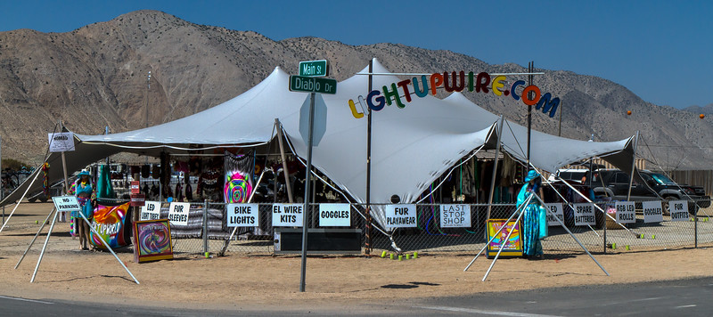17015 The Light Up Wire vendor is the last place to buy playa gear before reaching Black Rock City.