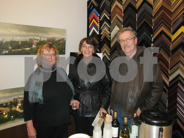 Artist/photographer Maureen Powers with Bruce and Georgeann Morrison at the artist's open house at Buckroyd Studio.