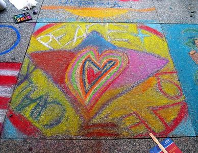 """PEACE LOVE CHALK,"" ""CHALK 4PEACE"" Sidewalk Chalk Contest,  Dr. MLK Jr. Memorial Library, DC, 7-15-05"