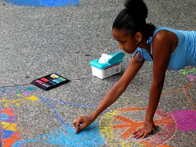 "'Drawing the way to Peace,""  ""CHALK 4PEACE"" Sidewalk Chalk Contest,  Dr. MLK Jr. Memorial Library, DC, July 05"