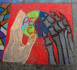 """Both sides,""  Wing, at the ""CHALK 4PEACE"" Sidewalk Chalk Contest,     Dr. Martin Luther King Jr. Memorial Library, Washington, DC, July 05"