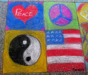 """CHALK 4PEACE"" Sidewalk Chalk Contest, Dr. MLK Jr. Memorial Library, DC, 7-15-05"
